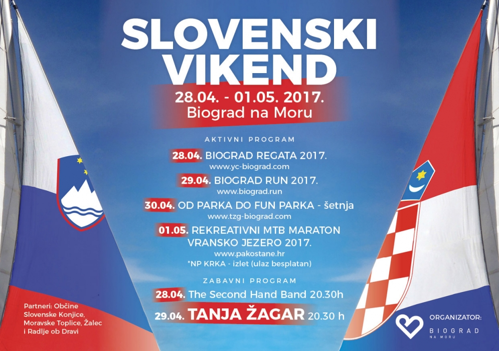 Slovenski vikend u Biogradu na Moru od 28.4. do 1.05. 2017.